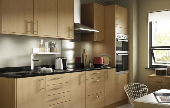 particle board beech made kitchen cabinet