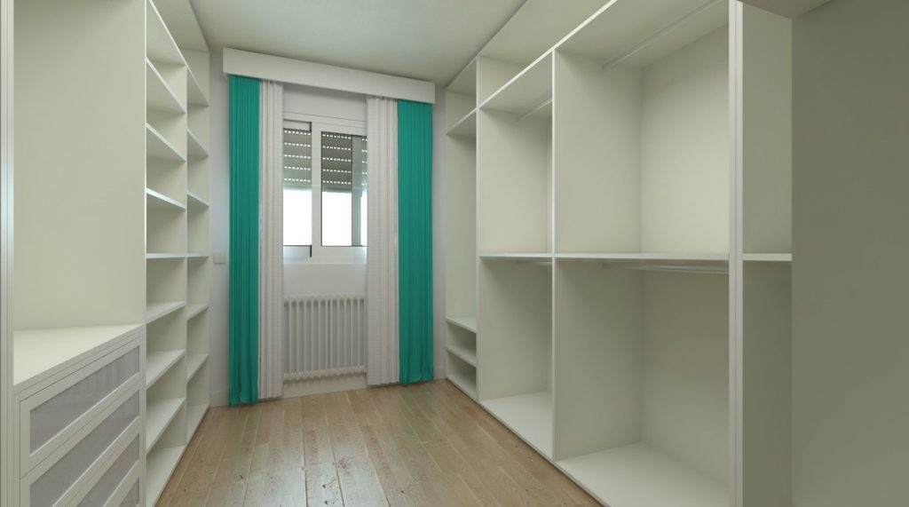 walk in white wardrobe with well-lit windows