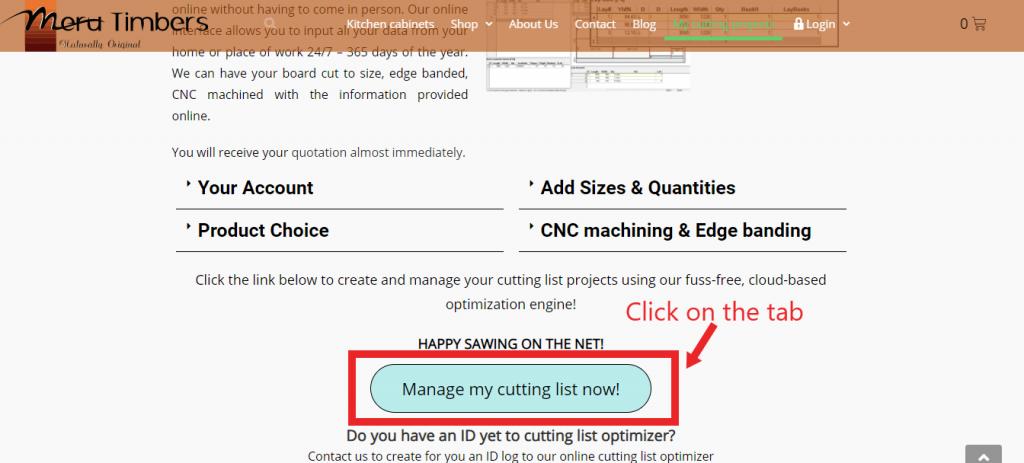 manage my cutting list tab