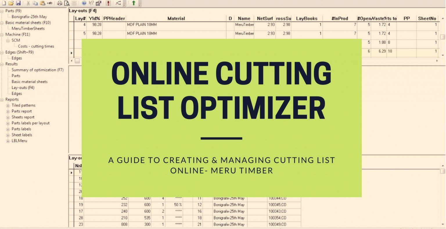 Online cutting list optimizer